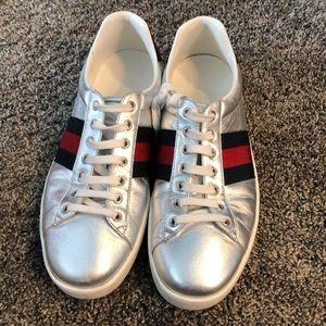 Men's silver Gucci sneakers